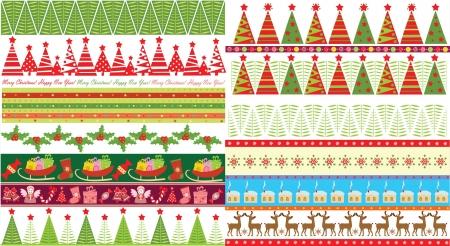 jingle bells: Xmas seamless borders Illustration