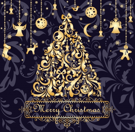 tree trimming: Christmas card with gold xmas tree Illustration