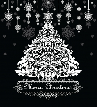 Vintage xmas greeting card  black and white  Vector