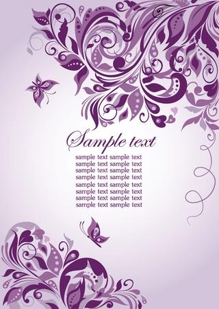 Violet floral banner Vector