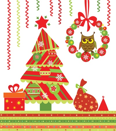 Xmas card with owl Vector