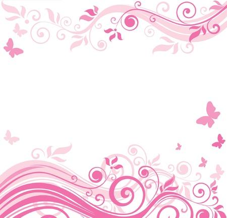 Floral pink border Vector