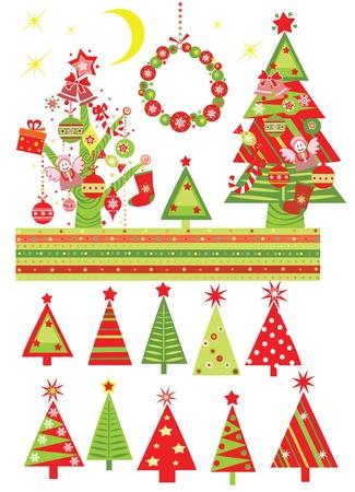 christmas angels: Cartoon with xmas tree Illustration