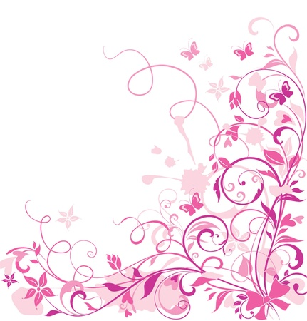 pink butterfly: Floral greeting card