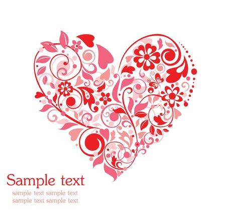 papillon rose: Carte de voeux avec forme de coeur floral