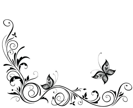 butterfly border: Vintage wedding design Illustration