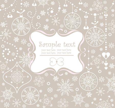 snowflake border: Xmas pastel frame Illustration