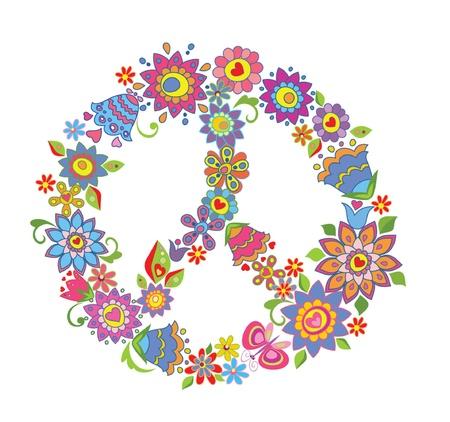 60s fashion: Peace flower symbol Illustration