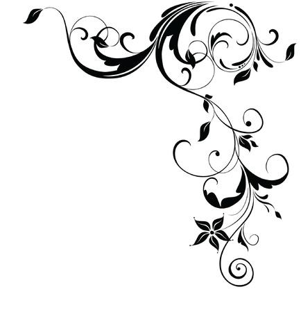 esquineros florales: Esquina floral vintage Vectores