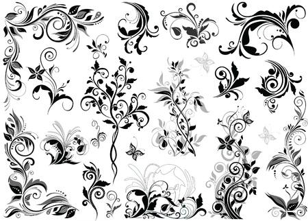 Vintage floral design elementen Stock Illustratie