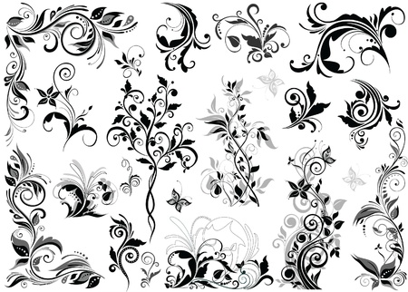 butterfly silhouette: Vintage floral design elements