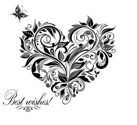 Vintage floral heart Vector