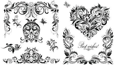 Vintage wedding design elements for invitations Vector