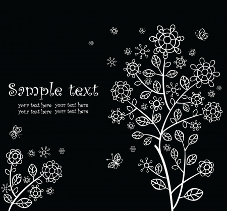 Beautiful greeting card  black and white  Vector