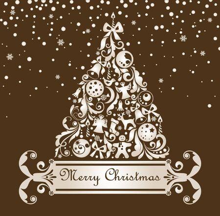 Christmas retro postcard Stock Vector - 18944440