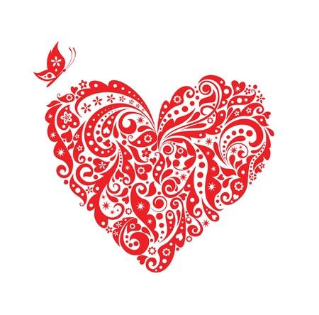 farfalla tatuaggio: Cuore rosso decorativo