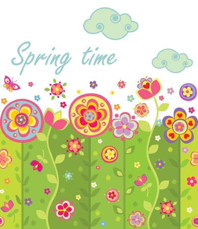 meadow spring: Seamless spring card