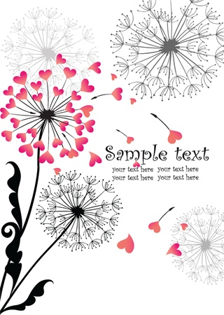 Valentine card with dandelion Vector