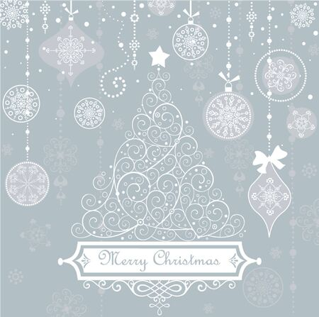 Vintage christmas blue card Vector