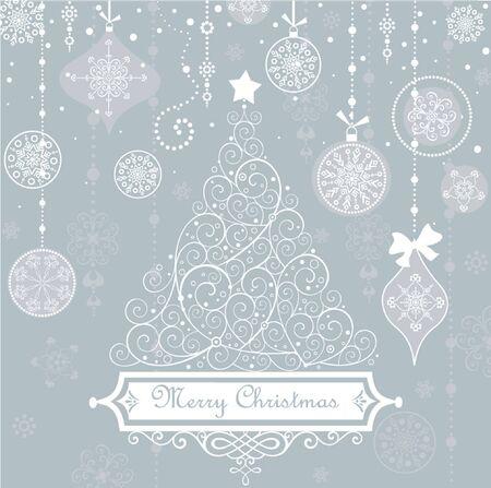 holiday card: Vintage christmas blue card Illustration