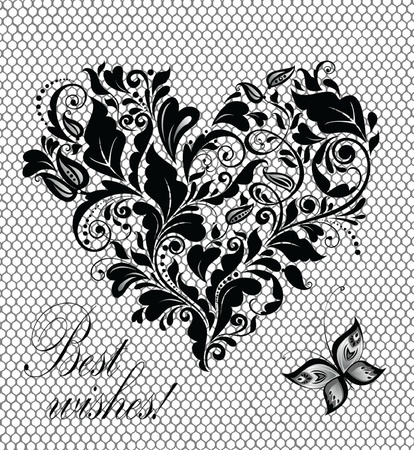 black lace: Vintage greeting lacy card