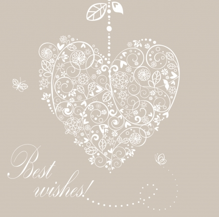 Vintage wedding floral heart Vector