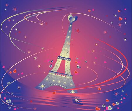 Card with Eiffel Tower. See my gallery for more Stock Vector - 18944374