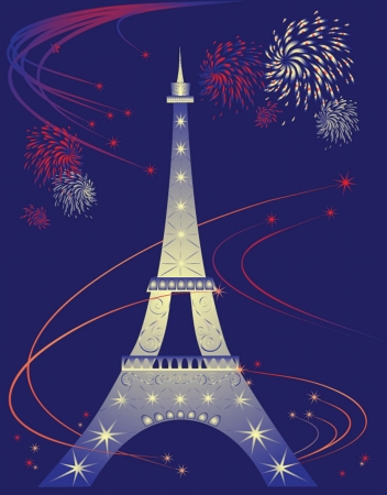Celebration card with Eiffel Tower. See my gallery for more Stock Vector - 18944378