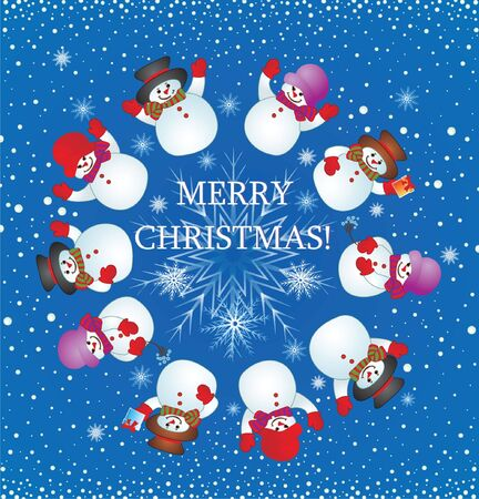Christmas card with snowman Stock Vector - 18944548
