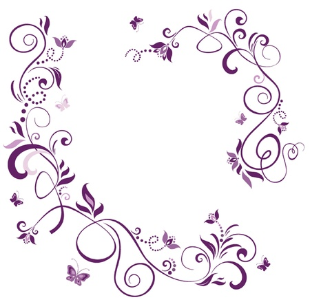 purple butterfly: Vintage floral violet border Illustration