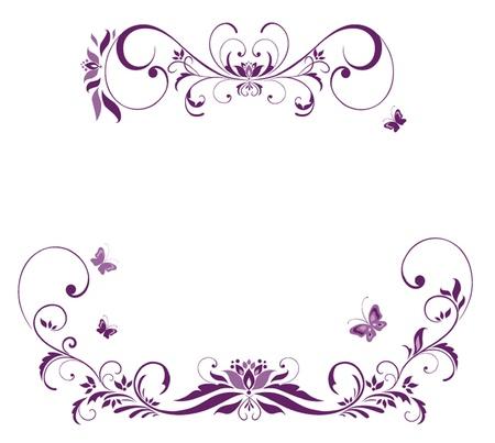 紫の花のボーダー  イラスト・ベクター素材