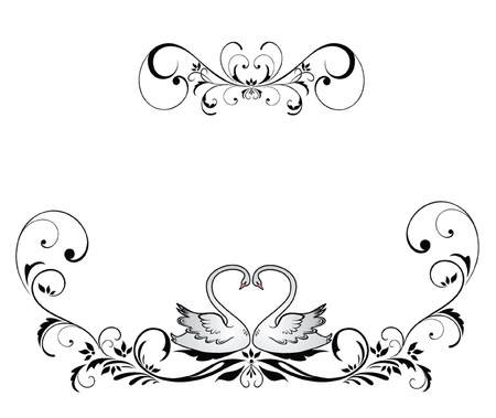 Wedding header with swans Stock Vector - 18944356