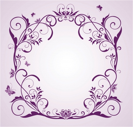 Wedding violet floral frame Vector