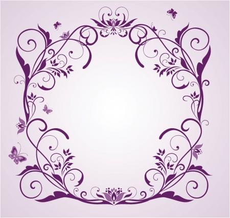 Wedding violet floral frame