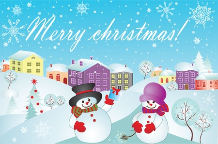 Xmas card with snowman Stock Vector - 18944524