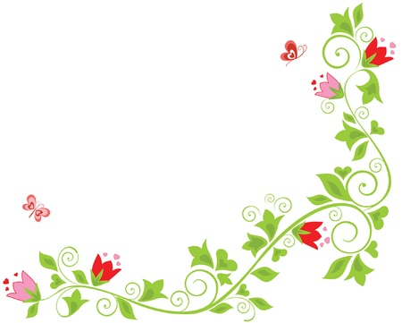 border silhouette: Floral border with tulip