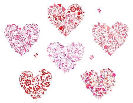 pink butterfly: Floral greeting heart shapes
