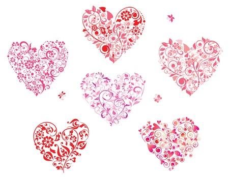 papillon rose: Floraux en forme de c?ur de v?ux
