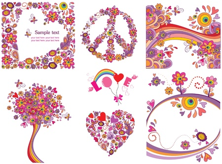 peace love: Funny greeting cards Illustration