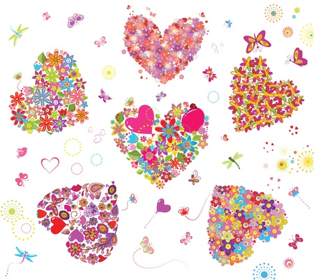 Funny greeting hearts Vector
