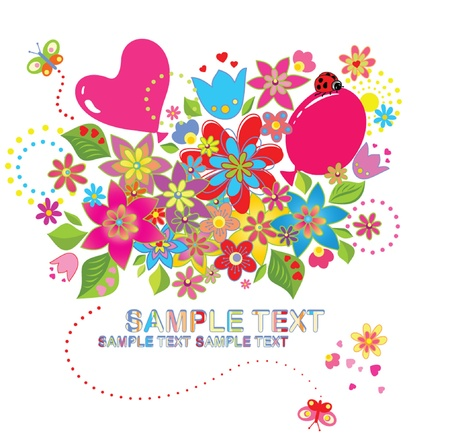 Greeting card with bouquet Vector