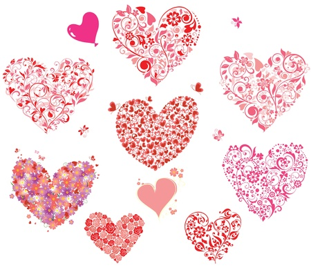pink butterfly: Greeting hearts