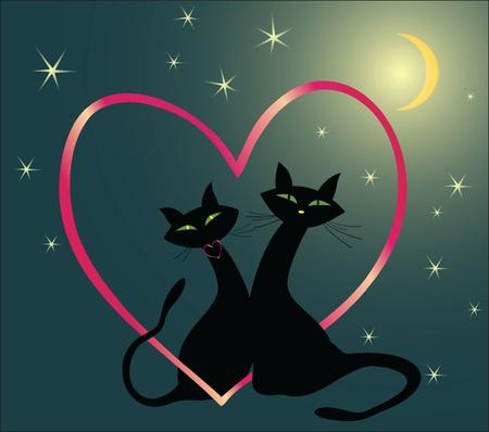animal lover: Loving cats Illustration