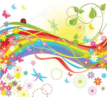 cartoon rainbow: Summer tarjeta Vectores