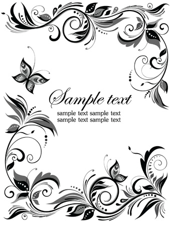 Wedding floral border Vector