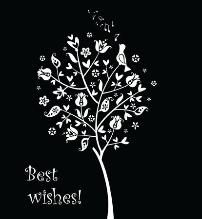 Greeting card with cute tree Vector