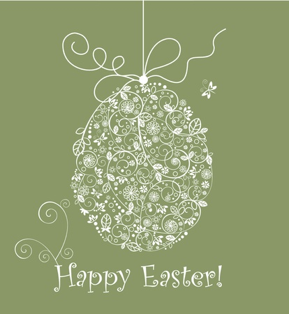 Vintage easter lacy egg Vector