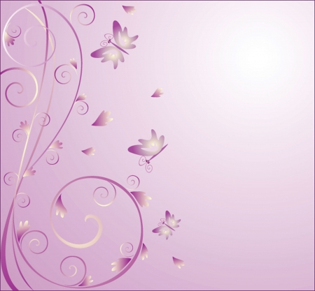 Abstract purple background with butterflies Vector