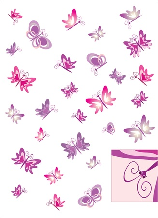 Set of whimsical and cute butterflies Stock Vector - 18944305