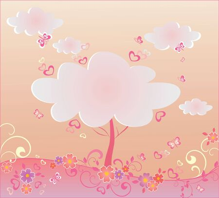 Valentine beautiful tree Vector